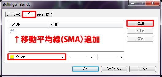 ボリンジャーバンド設定 SMA