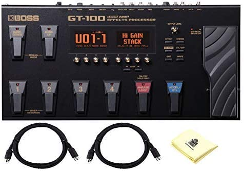 Boss GT-100 Guitar Multi Results Pedal Guitar Amp Results Processor with 6 Footswitches, COSM Sound-modeling, EZ Tone & USB Pc Connectivity With 2 x Senor MIDI Cable & Zorro Material