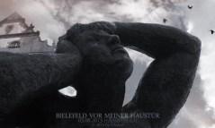 Skulptur »Passione per l'arte« (»Leidenschaft für die Kunst«) von Sandro Chià. Bielefeld am 03.08.13