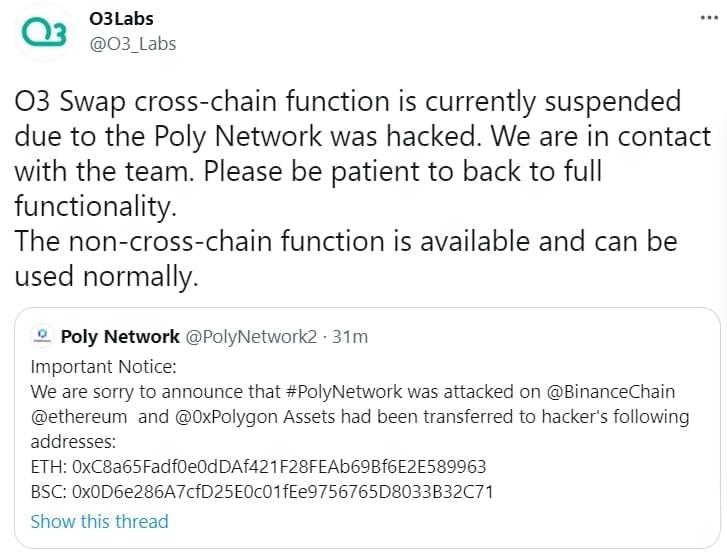 O3labs O3 Swap hack alert on Poly Network Hack