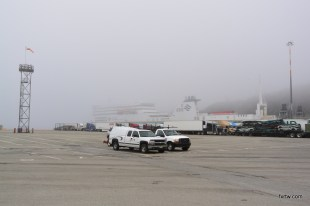 Ferry behind the fog