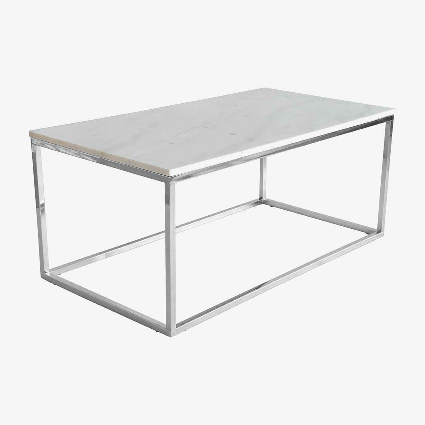marble coffee table white chrome