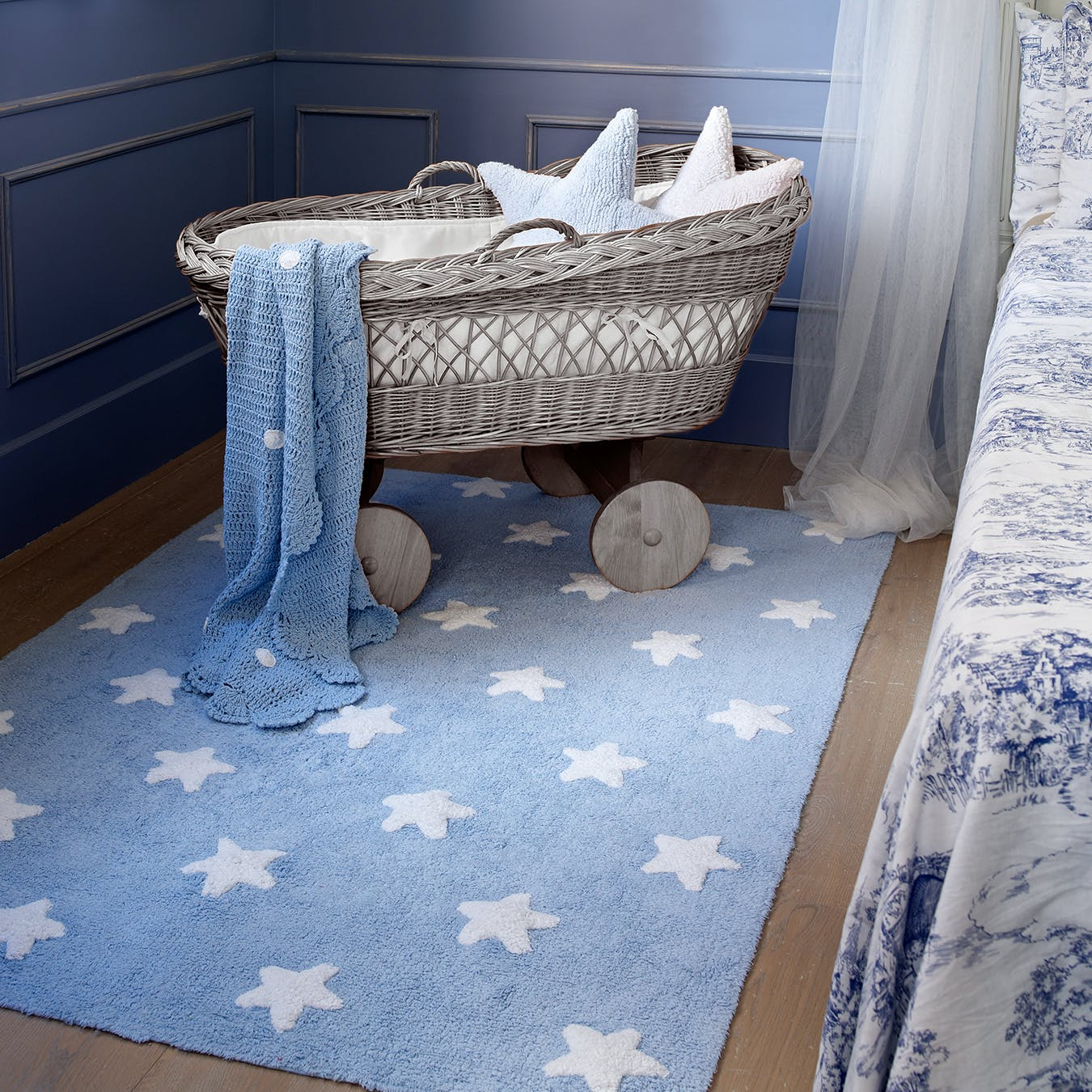 Stars Blue White Washable Rug By Lorena Canals Us Fy