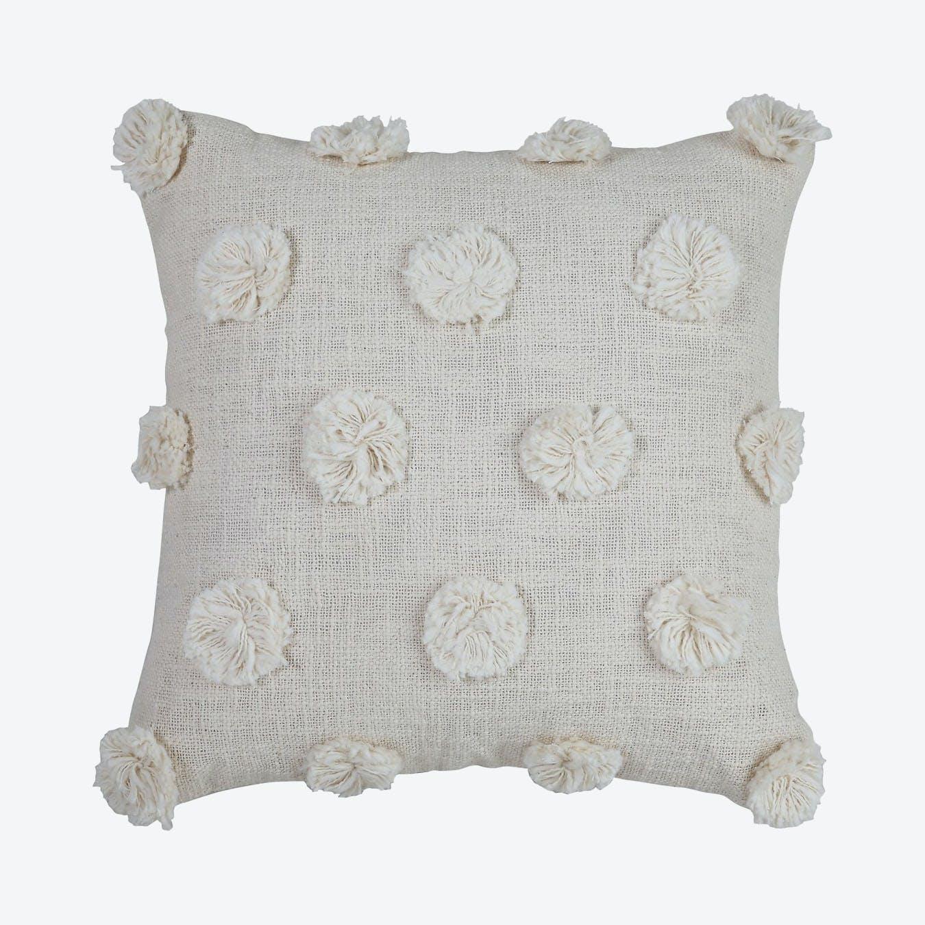 white pom pom pillow cover online