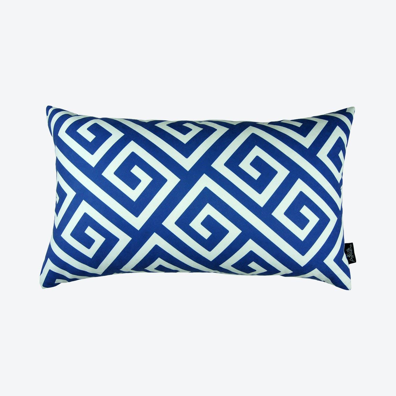 greek key decorative lumbar throw pillow cover blue white
