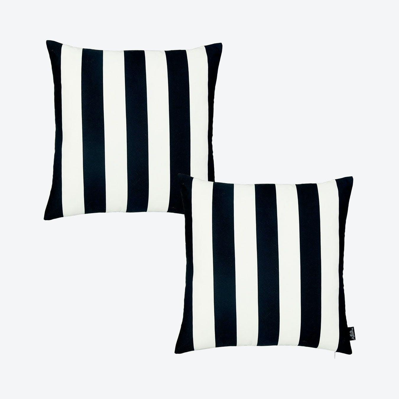 geometric stripes square throw pillow covers black white set of 2