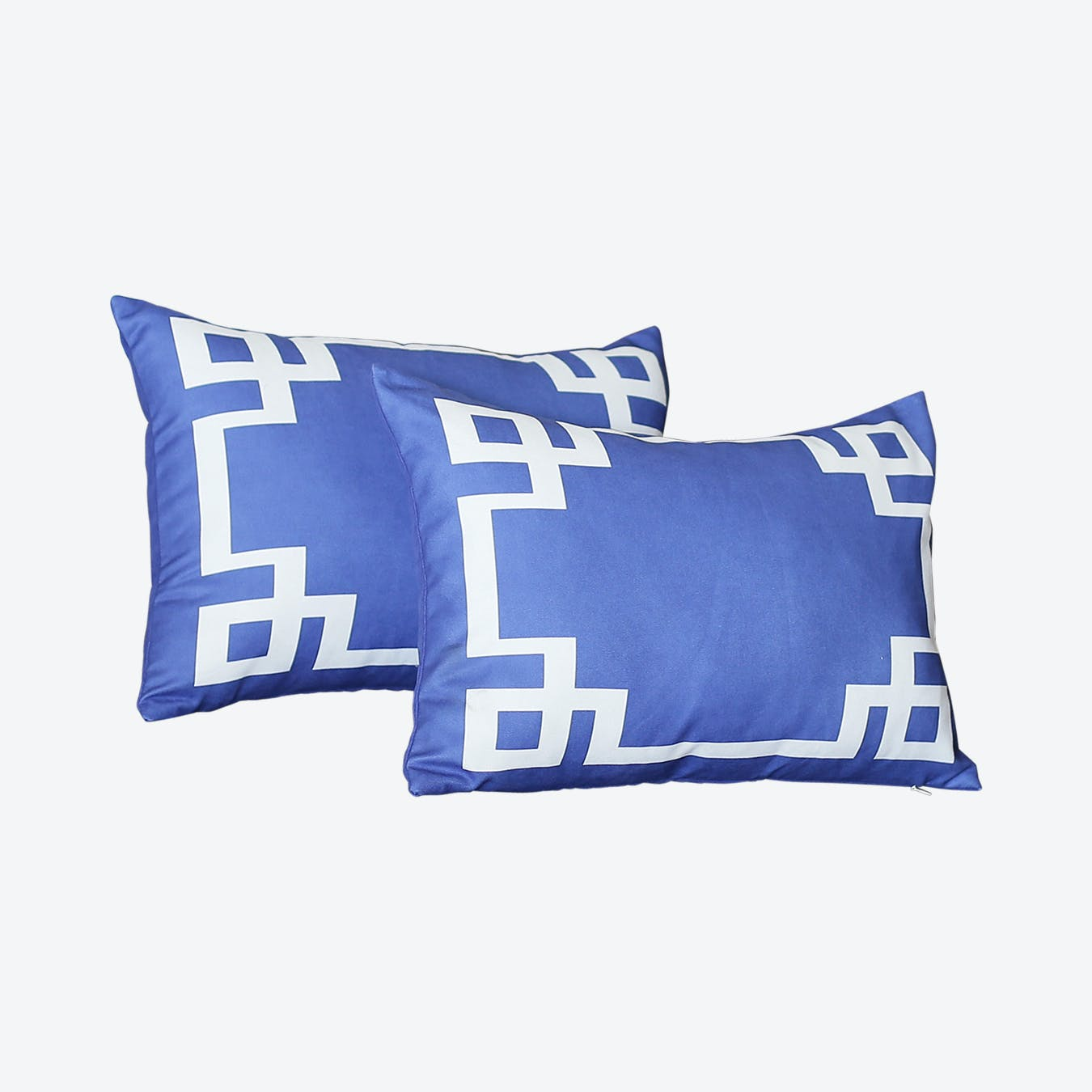 geometric rectangle throw pillow covers blue white set of 2