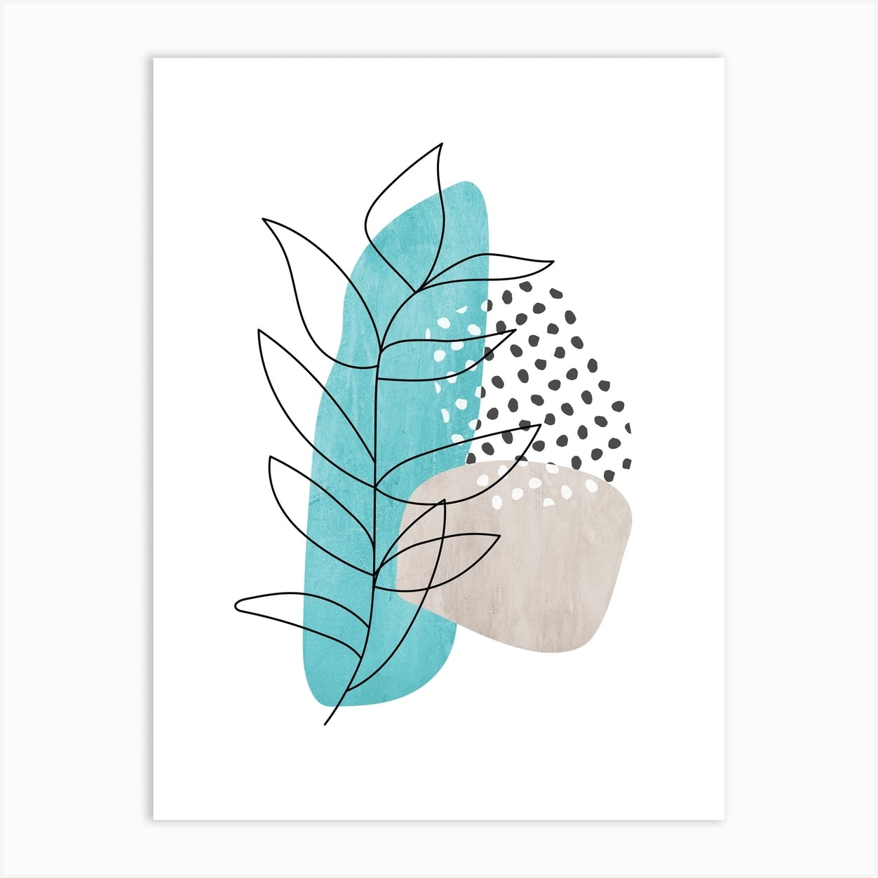 Abstract Leaf Line Drawing Art Print By Hecetu Fy