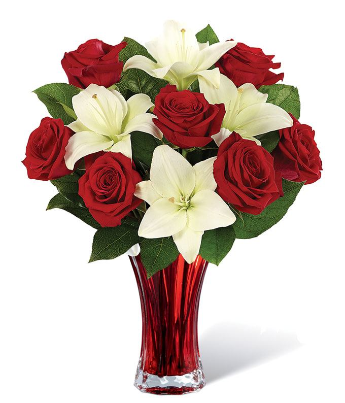 Classic Red Rose Amp White Lily Bouquet At From You Flowers