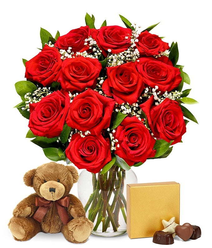 One Dozen Red Roses With Godiva Chocolates Amp Bear At From