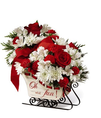 Christmas Sleigh Flower Centerpiece