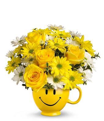 Smily mug yellow flower bouquet