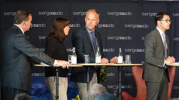 Stefan Löfven, Åsa Romson, Jonas Sjöstedt och Jimmie Åkesson under partiledar-debatten i Radions P1. Foto: Peter Ahlborg