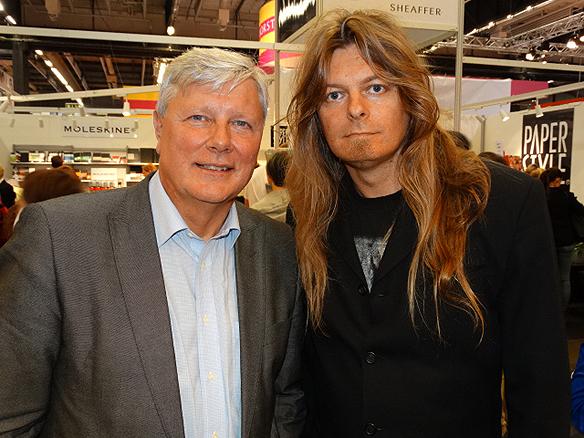 """Peter Ahlborg och Lars Ohly tillsammans på bokmässan 2014. """"Lars Ohly är en färgstark person"""", säger Peter om vad han tycker om Ohly."""