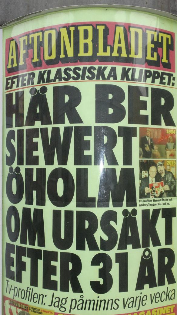 Aftonbladet slog upp nyheten stort när Siewert  Öholm ber Anders Tengner om förlåtelse. Foto: Peter  Ahlborg