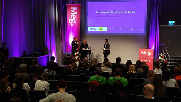 Många var intresserade av att lyssna på Martin Schibbye och Brit Stakston när de presenterade Blank Spot Projekt under Mediedagarna i Göteborg. Foto: Peter Ahlborg