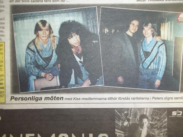 Peter Ahlborg träffar sina barndoms-idoler Kiss för första gången 1988 på Sheraton hotell i Stockholm