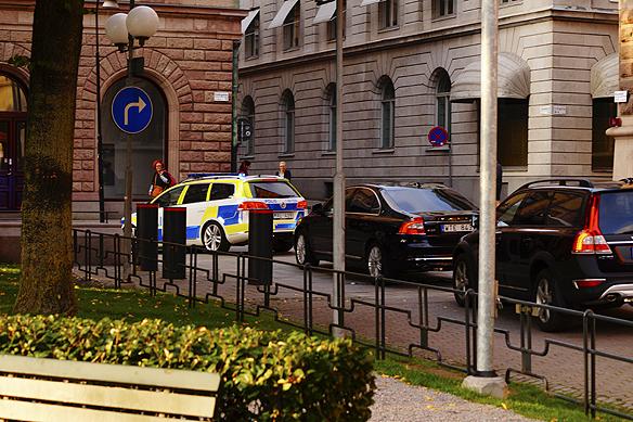Poliseskort av Donald Tusk, Europeiska rådets ordförande och hans stab i Stockholm. Foto: Peter Ahlborg