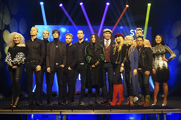 Alla tävlande artister i Melodifestivalen i Skellefteå i 4 deltävlingen 2017. Foto: Peter Ahlborg