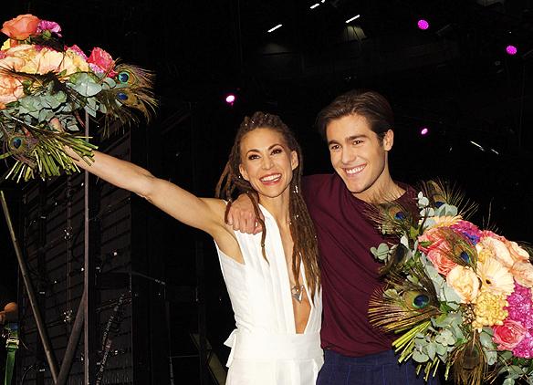 Mariette och Benjamin Ingrosso gick vidare till finalen från andra deltävlingen i Melodifestivalen i Malmö. Foto: Peter Ahlborg
