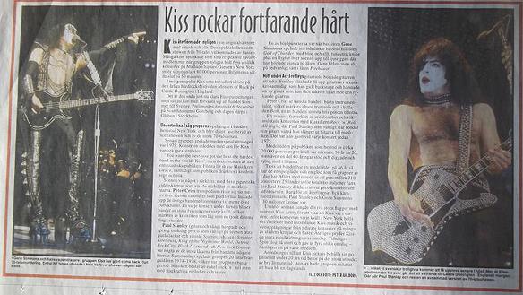 Peter Ahlborg bevakar Kiss återföreningsturné som slog alla rekord under 1996. Här ett reportage i Norrköping Tidningar när Peter Ahlborg bevakade Kiss konserter i New York, på ett utsålt Madison Square Garden, som han gjorde om sina idoler i rockgruppen Kiss. Foto: Peter Ahlborg