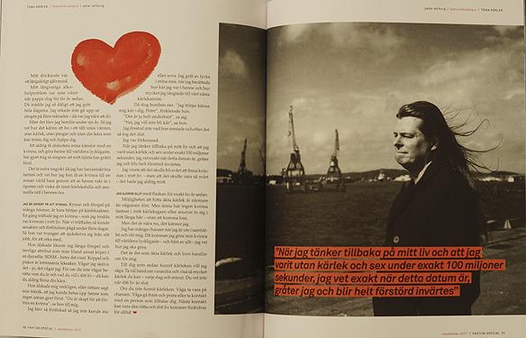 """Peter Ahlborg skriver med egna ord i Faktums kärleks magasin hur han kan göra sin älskande kvinna till världens lyckligaste. """"Jag har fantastisk bra fantasi och vet hur jag kan få en kvinnan till en annan värld bara genom att se henne rakt in i ögonen och viska de mest kärleksfulla och sensuella ord i hennes öra"""". Foto: Peter Ahlborg"""