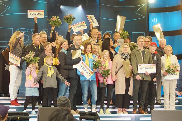 En vinstpott på 80 miljoner kronor delades ut på Postkodlotteriets Grannyra i Vänersborg söndagen den 15 april 2018. Mest vann Sami Rantila, 41, som fick över 15,7 miljoner kronor. Totalt blev 14 personer miljonärer efter dagens utdelning. Foto: Peter Ahlborg