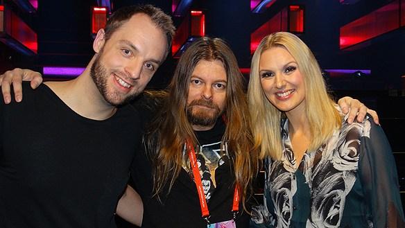 Robin Paulsson, Peter Ahlborg och Sanne Nielsen. Här träffas de när Sanna Nielsen var programledare för Melodifestivalen 2016 som Peter Ahlborg bevakade som fotograf/journalist. Foto: Privat
