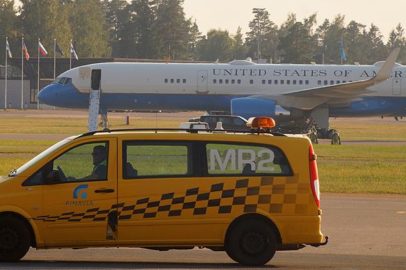 Här en bild på Air One Force. Taget på Helsingfors flygplats den 16 juli 2018. Foto: Peter Ahlborg