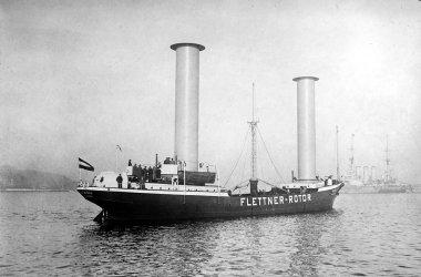 The Buckau, the original Flettner rotor ship