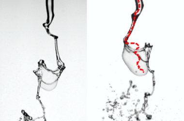 Two experimental images of a jet breaking up