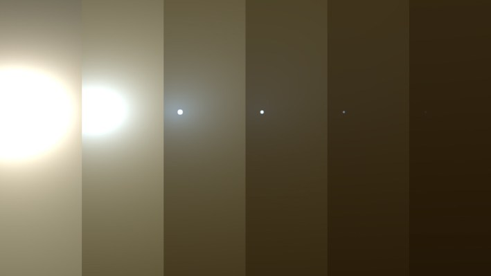 A series of photos of the sun being blocked by Martian dust