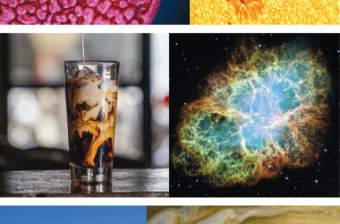 A series of photos matching earthbound and stellar physics: convection cells in a frying pan with convection cells on the sun, cream in iced coffee compared to the Crab Nebula, and wave clouds over a barn compared with the swirls of Jupiter