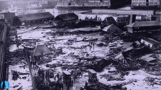 Aerial view of the devastation after the Boston Molasses Flood