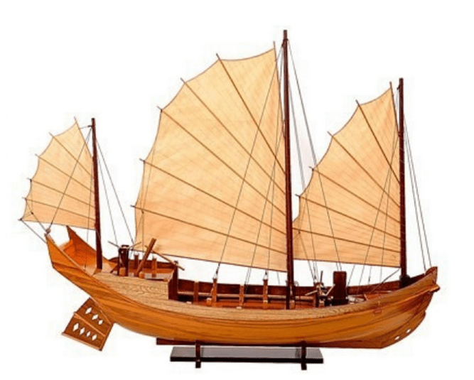A model of a Chinese junk ship