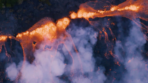 Lava bubbles up out of a fissure