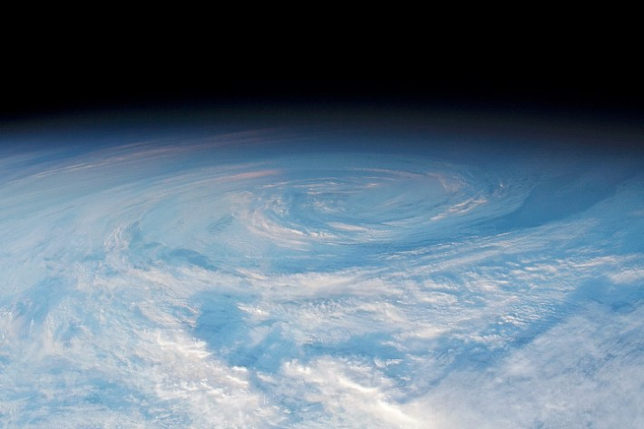 A swirling atmospheric vortex as observed from the International Space Station