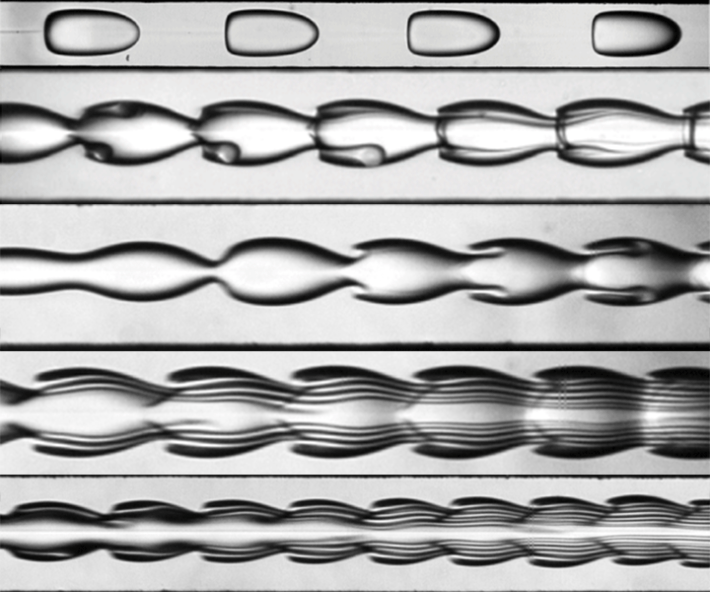 Immiscible fluids in a microfluidic channel display a variety of behaviors from dripping to jetting to wild instabilities.