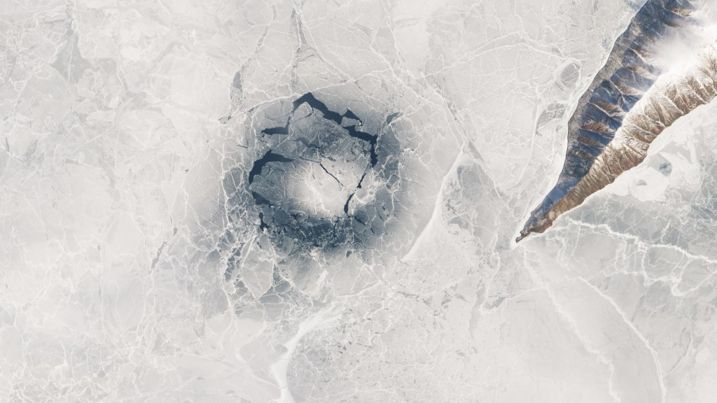 Ice ring observed on Lake Baikal, Russia by the MODIS satellite, April 2016.