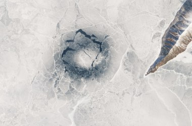 Ice ring observed from a satellite in April 2016.