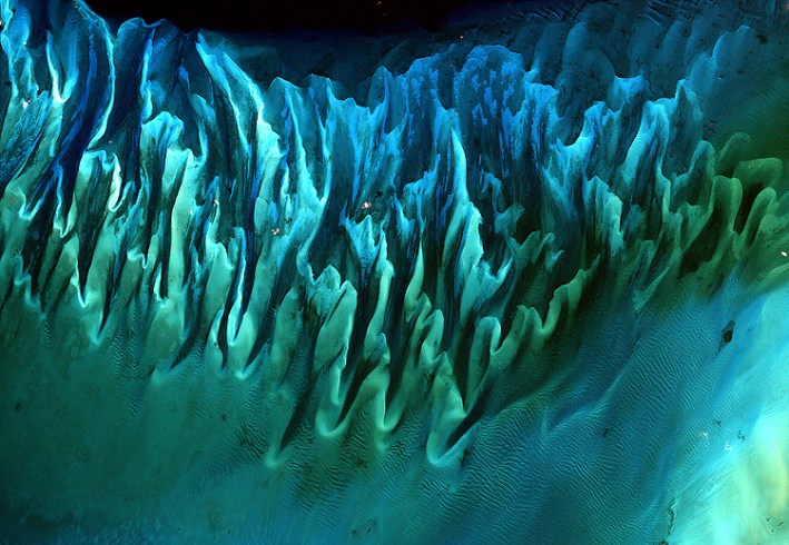 False-color satellite image of sands and seaweed beds in the Bahamas.
