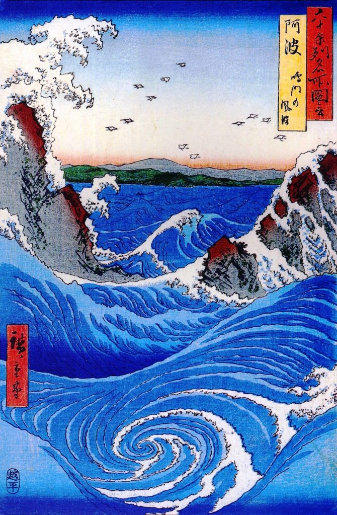 Hiroshige's depiction of a Naruto whirlpool.