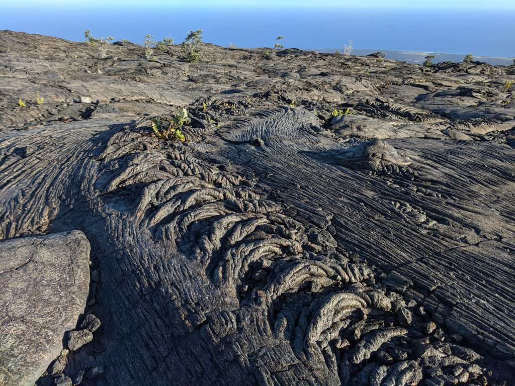 Pahoehoe lava flows in Hawaii.