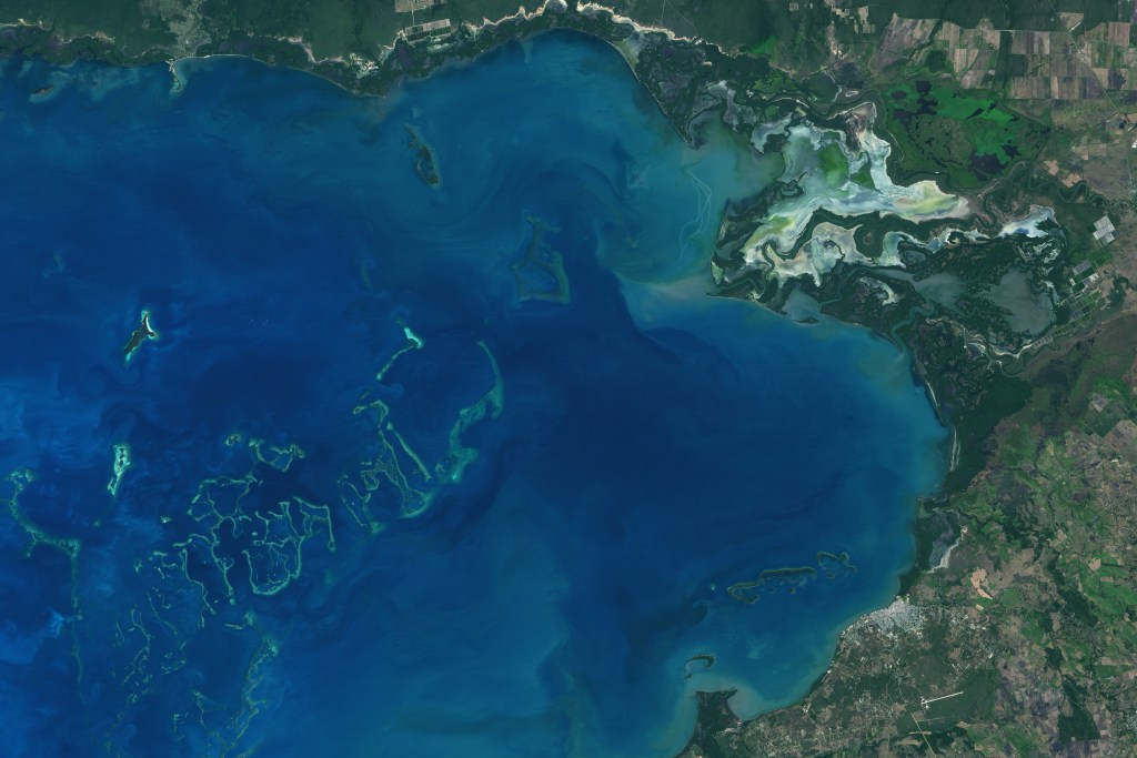 Satellite image of Cuba's Gulf of Guacanayabo. The green curves in the lower left are the upper portions of coral reefs in the bay.