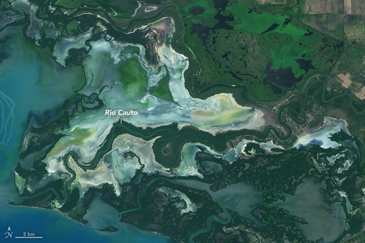 Satellite image of the Río Cauto in Cuba.