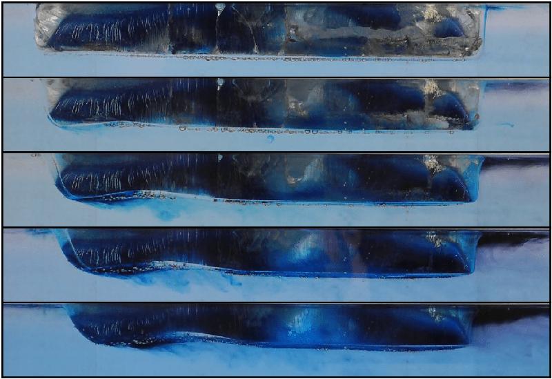 Snapshots of a model iceberg as it melts.