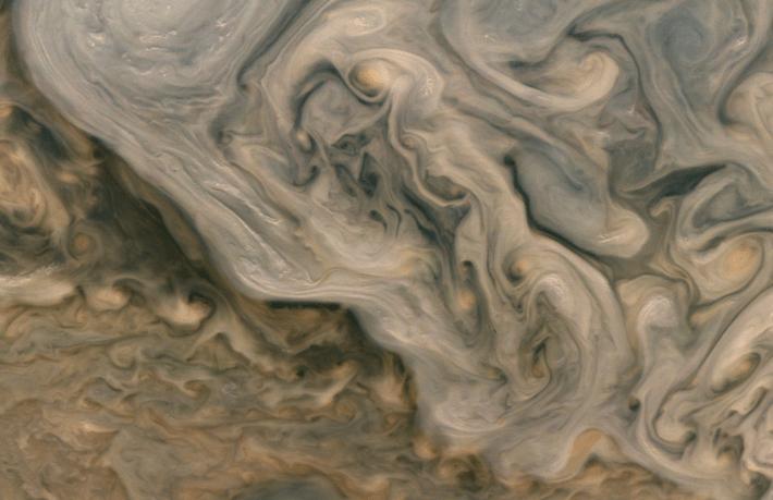 Close-up of Jupiter's atmosphere.