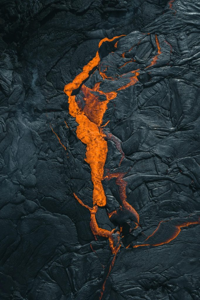 Aerial photo of lava from the Fagradalsfjall volcano.