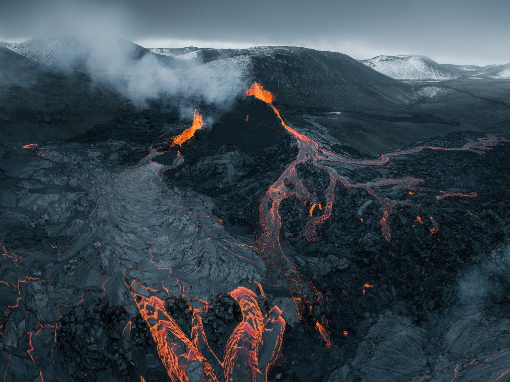 Aerial photo of a lava field from the Fagradalsfjall eruption.