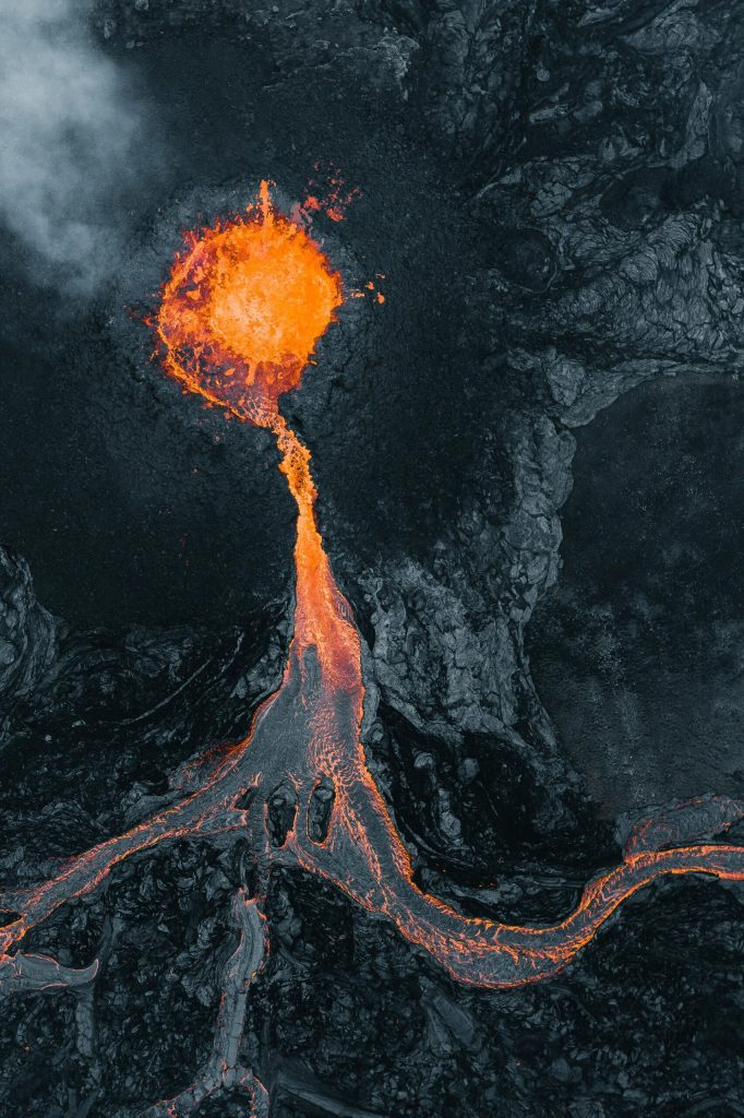 Looking down an erupting cone on the Fagradalsfjall volcano.